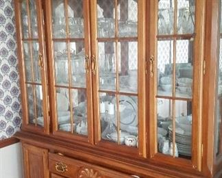 1. BEAUTIFUL CHINA CABINET LIGHTED AND MIRRORED. IT  IS 2 PIECE SO CAN BE USES AS A BUFFET AND DISPLAY CASE. $175
