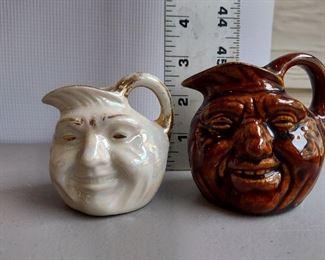 2 Piece Mini John Barleycorn/Moonface Mini Pitchers - Opalescent, Brown Drip attributed to Bennington -but not verified. (Bottoms unmarked) $20