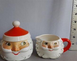 HOLT HOWARD 1959 STARRY EYED CHRISTMAS SANTA CREAM PITCHER & SUGAR BOWL $45