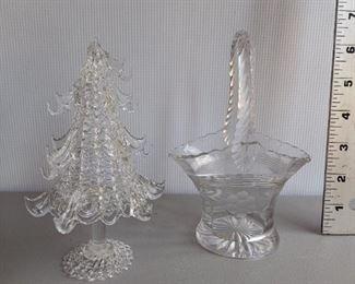 2 Piece Glass Christmas Tree and Basket $8