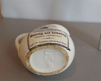 Vintage Samuel Uphegoes White Ironstone Pitcher Creamer Hoisting & Lowering USA $10