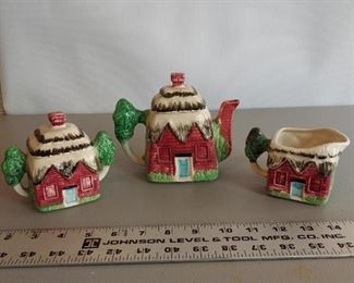 3 Item Lot Cottage Ware (Red) Unmarked  $15