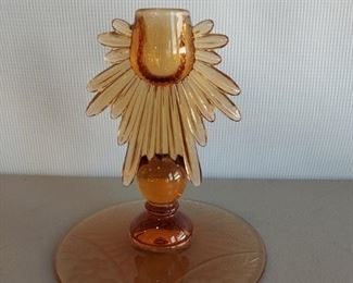 Beautiful Amber candleholder with floral etched base $6