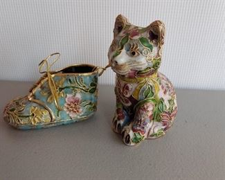 Cloisonne shoe and cat pair for $28
