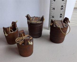Miniature primitive wooden dollhouse buckets $25