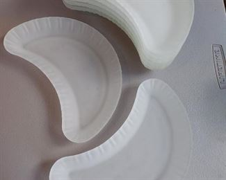 8 Piece Frosted Glass Crescent Shaped Plates $16