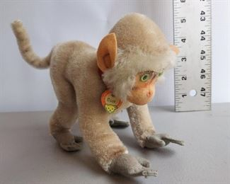"""VINTAGE STEIFF MONKEY COCO W/NAME TAGE AND COLLAR APPROX 5.5"""" TALL X 9"""" LENGTH $80"""