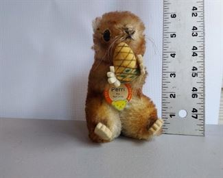 Steiff Perry Squirrel Hang Tag Present, Ear Tack in Place but Ear Tag Missing, Part of Ear Missing $15
