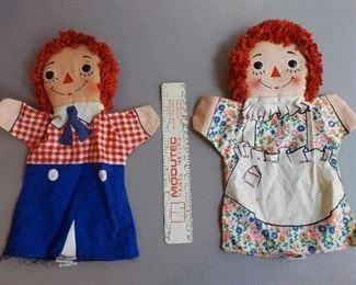 VINTAGE RAGGEDY ANDY & ANN FABRIC CLOTH HAND PUPPETS BY KNICKERBOCKER 1973 $10- pair