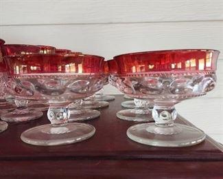 "Tiffin Kings Crown Cranberry Flash Thumbprint  45 Pc: 18 Sherbet, 2 Candlestick Holders (Look like the sherbet),19 (4.25"" H) Bigger Glasses, 6 (3.75"" H) Smaller Glasses $200"