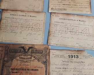 All ephemera in 3 pics is one lot (7) Collector's certificates of registry (4) special tax stamps (2) partial certificates (1) property tax receipt (3) tea checks $500