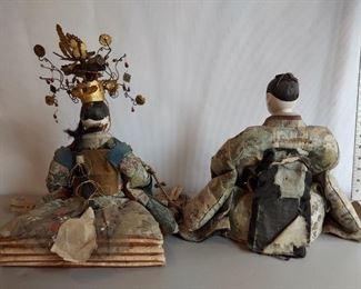 Japanese seated dolls Vintage Hina dolls  Emperor and Empress  $400