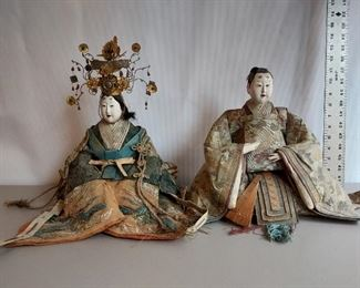 Japanese seated dolls Vintage Hina dolls  Emperor and Emporess  $400