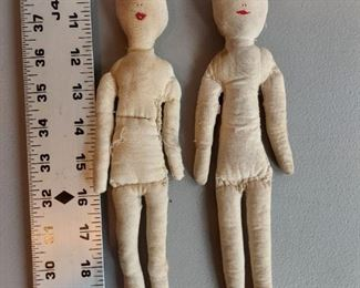 Antique Cloth Doll 1910-1930 Collectible Primitive Rag Cotton Stuffed Doll Antique Cloth Ink Face Girl Rag Doll  $60 (pair)