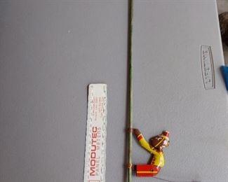 Vintage Original 1930s JOG-O CLIMBING TIN MONKEY Wooden Pole Toy - $20