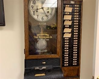 International Time Recording Clock with Card Rack and cards $1000