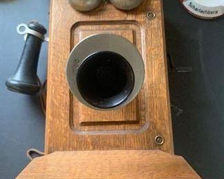Antique Kellogg hand crank wall telephone $150