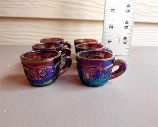 6 Pc Carnival Glass Mini Punch Cups $60