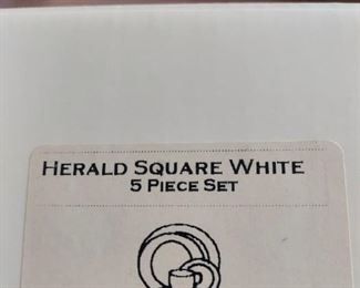 LENOX HERALD SQUARE WHITE 5 PIECE PLACE SETTING PLATINUM TRIM NEW IN BOX 2 sets $45 each or $80 for the pair
