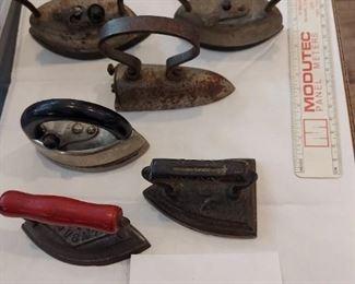 Mini Sad Iron Lot 2:  7 Item - 5 Marked: Saferon Massengill, ACW,  A Best, Dover USA, Dover No 902.   $60