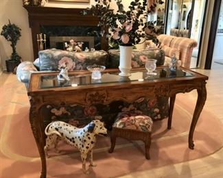 Console table, Floral sofa & pair plaid Slipper chairs