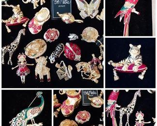 Large selection of vintage Bob Mackie pins