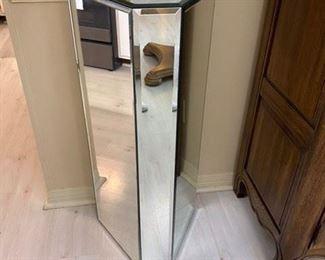 """1. Mirrored pedestal. 35""""L x 16""""D x 14""""D $75"""