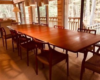 Beautiful Teak Danish Modern MCM Dining Room Table with 10 Woven Cord Seat Chairs