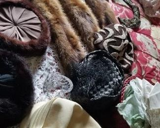 Fur collars and vintage hats