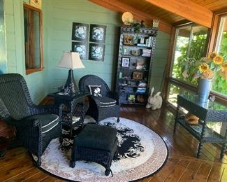 Sunroom filled with black wicker set and gorgeous bookcase