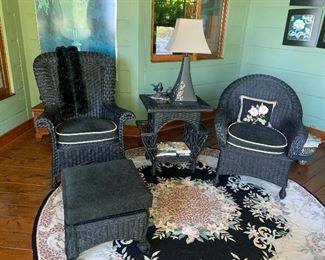 Wicker furniture (rug not available)