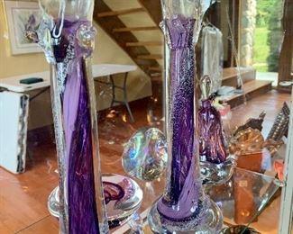 Megdall Art glass candle sticks