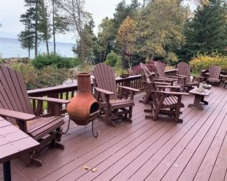Patio furniture, picnic table, outside fire pit