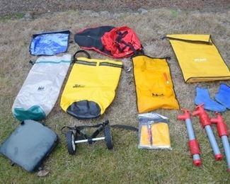 Dry bags, spray skirts (more in other pictures),  and other kayak accessories
