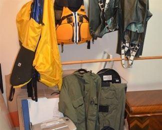 Rain gear, paper shredder, kayak spray skirts