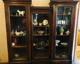 Victorian bookcase/china cabinet /original wavy glass