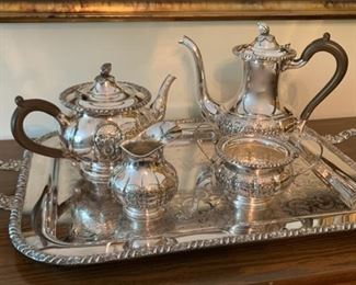 HALF OFF!   $200.00 now, was $400.00......Stunning!  Hand Chased Sheffield Silver Plate Coffee Service Set (P69)