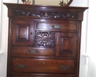 Antique Dresser with Hat box Cabinets