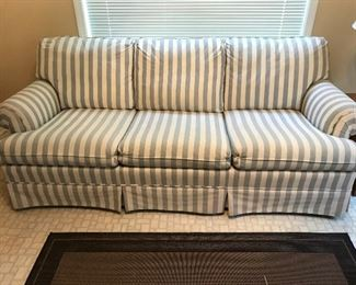 Striped Rolled Arm Sofa