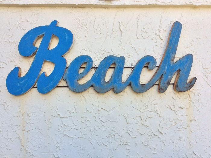"Beach Metal Sign, 45"" W."