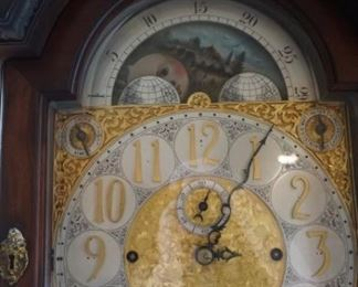 "English Tall Case Grandfather Clock with Bell Chimes and Brass Finials Measures 103"" tall, 25"" wide and 16"" deep"