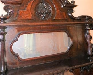 """Marble Top Sideboard (Attributed to """"Mitchell and Rammelsburg """") with mirrored top and Heavily Carved Fruits, Fish & Foliage.  In Pristine Condition Mahogany  Measures 97"""" tall, 72"""" wide and 26"""" deep"""