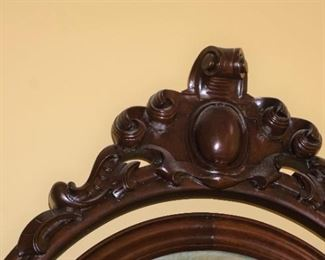 "Mahogany Marble Top Dresser with Egg Carved Motif Mirror Frame.  Serpentine Front measures 100"" tall, 50"" wide and 26"" deep"