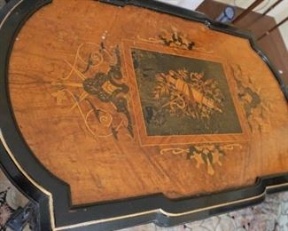 "Renaissance Revival Ebonized and Gilded incised Center Table With Crown Motif Measures 42"" long, 26"" deep and 31 tall"