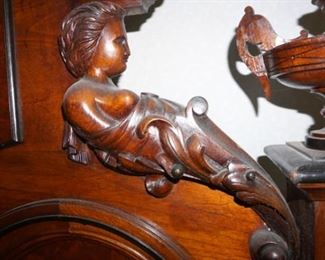 1840 Antique Walnut Victorian full Bed Angel Heavily Carved Paneled Curved Foot Board with Scroll Top With Angels Carved atop the headboard.
