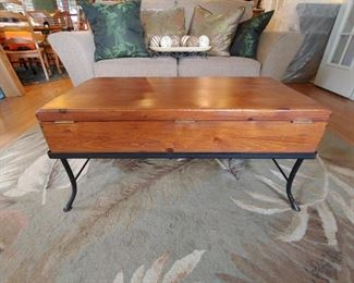 Vintage coffee table with open top for storage