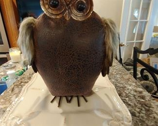 Leather and brass owl