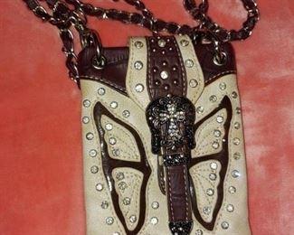 Small leather shoulder handbag