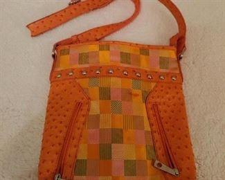 Multi-colored patchwork handbag