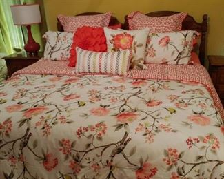 Mid Century King Size Bed and bedding